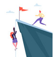 business challenge concept businesswoman climbing vector image vector image