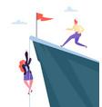 business challenge concept businesswoman climbing vector image