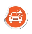 car with vacuum cleaner icon orange label vector image vector image