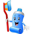 cartoon funny toothpaste and toothbrush vector image