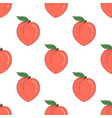 cartoon peaches seamless pattern isolated on white vector image vector image