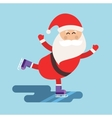 Cartoon Santa ice skates winter sport vector image vector image