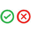check mark and wrong mark icon texture vector image vector image