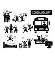children school holiday stick figure pictograph vector image
