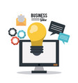 colorful poster of business idea with desktop vector image vector image