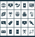 communication icons set with laptop communication vector image vector image