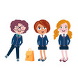 cute kids teenagers in stylish uniform funny vector image