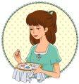 embroidering girl vector image vector image