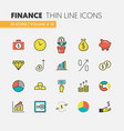 finance investment linear thin icons set vector image vector image