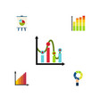 flat icon graph set of statistic easel chart and vector image vector image
