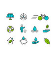 green icon set in outline style for nature care vector image