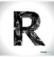 grunge letter r black font sketch style symbol vector image vector image