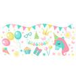 happy birthday modern cute icons set cartoon flat vector image vector image