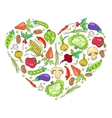 Heart from vegetables on white vector image vector image