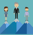 leaders on a mountain peak business success vector image