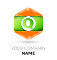 letter q logo in the colorful hexagonal vector image vector image