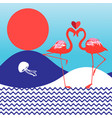 lovers red flamingo vector image vector image