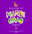 mardi gras carnival background with mask cut vector image vector image