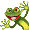 Merry green frog vector image