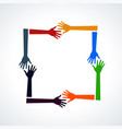 multiracial human hands in a square vector image vector image
