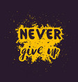 never give up motivational inspirational quote vector image vector image