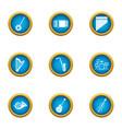 philharmonic icons set flat style vector image