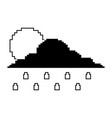 pixelated cloud sun and rain drops climate vector image vector image