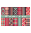 plaid pattern seamless ornate set pastel color vector image vector image