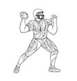 quarterback throwing action entangle vector image