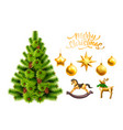 realistic christmas tree with toys symbols vector image