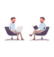 smart casual man sitting in armchair vector image