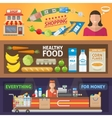 Supermarket Horizontal Banners Set vector image vector image