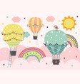 three colorful hot air balloon fly in pink sky vector image vector image