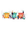 trash recycling industrial concept people vector image