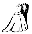 wedding outfits bride and groom icon vector image vector image