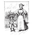 woman and child vintage vector image vector image
