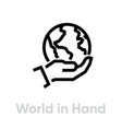 world in hand globe earth icon editable line vector image