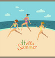 girls in bikini are running on the beach vector image