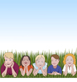 Five young children and summer vector image
