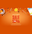 autumn sale orange web banner vector image vector image