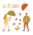 autumn set people with umbrella vector image vector image