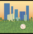 baseball ball on cityscape vector image vector image