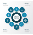 battle outline icons set collection of radiation vector image vector image