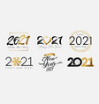 big set 2021 happy new year gold and black logo vector image