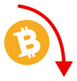 bitcoin fall down trend flat icon vector image vector image