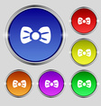 Bow tie icon sign Round symbol on bright colourful vector image