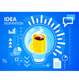 bright light bulb and coffee on blue backgro vector image vector image