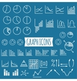 business charts set thin line graph icons vector image
