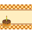 Cake with a candle on a plaid background vector image vector image