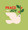christmas card with white dove holding holly vector image vector image